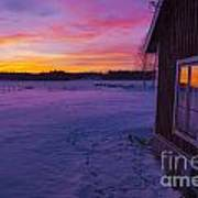 Sun Setting Over Winter Landscape And A Small House Poster