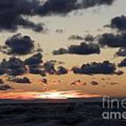 Sun Setting With Dramatic Clouds Over Lake Michigan Poster by Christopher Purcell