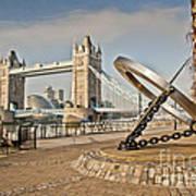 Sundial At Tower Bridge Poster by Donald Davis