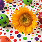 Sunflower And Colorful Balls Poster