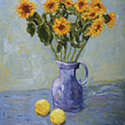 Sunflowers And Lemons Poster