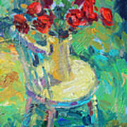 Sunny Impressionistic Rose Flowers Still Life Painting Poster