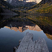 Sunrise At The Maroon Bells Reflected Poster