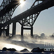 Sunrise Blue Water Bridges Fog Poster