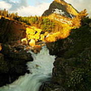 Sunrise On A Waterfall At Glacier  Poster