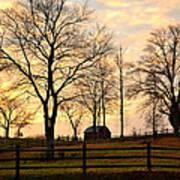 Sunrise Over A Barn Poster