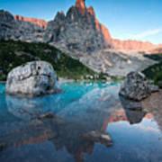 Sunrise Over Peak In Dolomites Poster