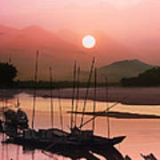 sunset at Mae Khong river Poster