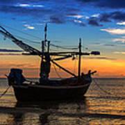 Sunset Fisherman Boat Huahin Thailand Poster by Arthit Somsakul