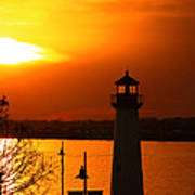 Sunset Lighthouse Poster