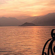 Sunset On Lake Como Poster