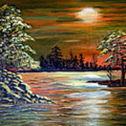 Sunset On Lake Windsor Poster