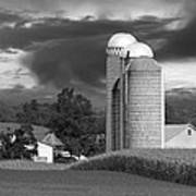 Sunset On The Farm Bw Poster