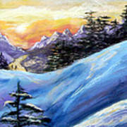Sunset On The Snow Poster by Trudy Morris