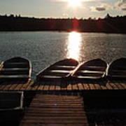 Sunset Over Bear Pond Sabattis Adventure Camp Poster