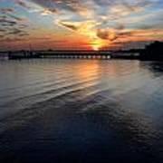 Sunset Over Gulfport Casino In Gulfport Florida Poster