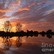 Sunset Over Lake At Finley Poster