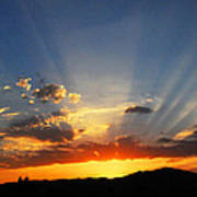Sunset Sun Rays Poster