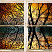 Sunset Tree Silhouette Abstract Picture Window View Poster