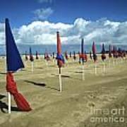 Sunshade On The Beach. Deauville. Normandy Poster by Bernard Jaubert