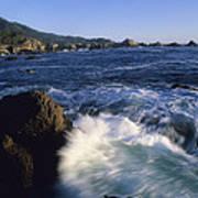 Surf Pounds And Swirls Around Bird Rock Poster by Rich Reid