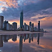 Surfers Paradise @ Sunset Poster
