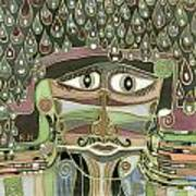 Surprize Drops Surrealistic Green Brown Face With  Liquid Drops Large Eyes Mustache  Poster
