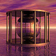 Metal Cage Floating In Water Poster