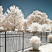 Surreal Michigan Infrared Nature - Dreamy Color Infrared Nature Fence Landscape Michigan Infrared Poster