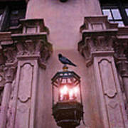 Surreal Raven Gothic Lantern On Building Poster