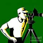 Surveyor Geodetic Engineer Survey Retro Poster