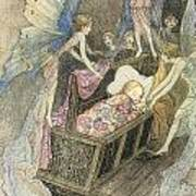Sweetly Singing Round About They Bed Poster by Warwick Goble