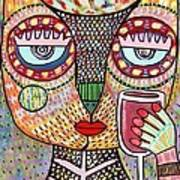 Talavera Feather Owl Drinking Red Wine S Poster