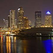 Tampa Nighttime Skyline Poster