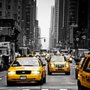 Taxis On 6th Avenue Poster