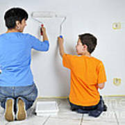 Teamwork - Mother And Son Painting Wall Poster