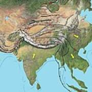 Tectonic Map Of Asia Poster