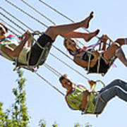 Teenagers On Fairground Ride Poster