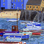 Painting Tenby Harbour With Boats Poster