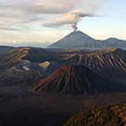 Tengger Caldera With Erupting Mount Poster