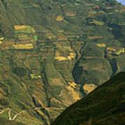 Terraced Fields Above Canyon Draining Poster