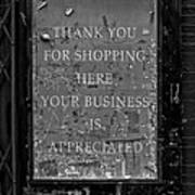 Thank You For Shopping Here Poster
