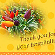 Thank You For Your Hospitality Greeting Card - Decorative Pepper Plant Poster