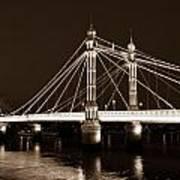 The Albert Bridge London Sepia Toned Poster