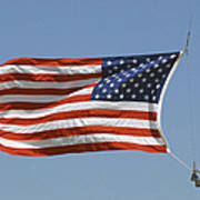 The American Flag Waves At Half-mast Poster