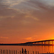 The Biloxi Bay Bridge At Sunset Poster