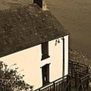 The Boathouse At Laugharne Sepia Poster
