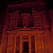 The Famous Treasury Lit Up At Night Poster