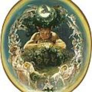 The Faun And The Fairies Poster by Daniel Maclise