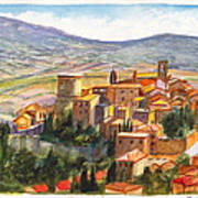 The Fortified Walled Village Of Gualdo Cattaneo Umbria Italy Poster